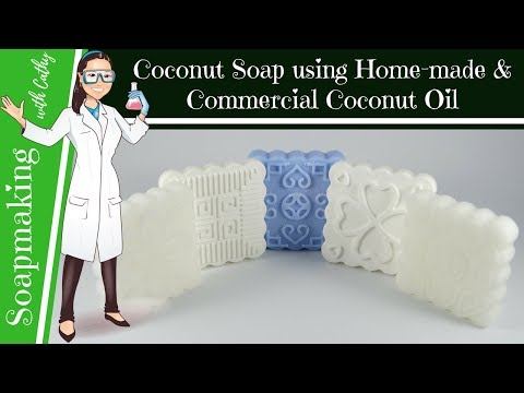Coconut Soap using traditional home-made coconut oil DIY beginners easy how to soap making 111