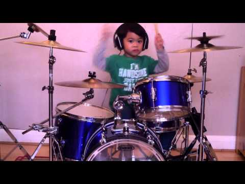 Blur - Song 2 drum cover, 4-Year-Old Drummer