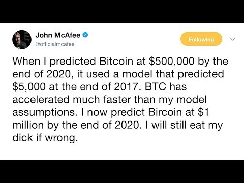 Bitcoin to be worth $1 million by Dec. 31, 2020 or John McAfee will permanently disfigure himself