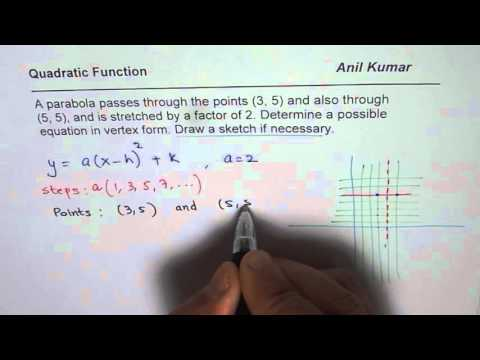 How to Find Quadratic Equation Given Horizontal Points and Stretch Factor