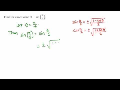 Trigonometry: Exact value of sin pi/8  (sin 22.5)