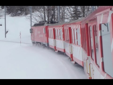 Swiss Trains in the Snow