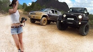 Toyota Hilux and Jeep Wrangler JK offroading / 4x4