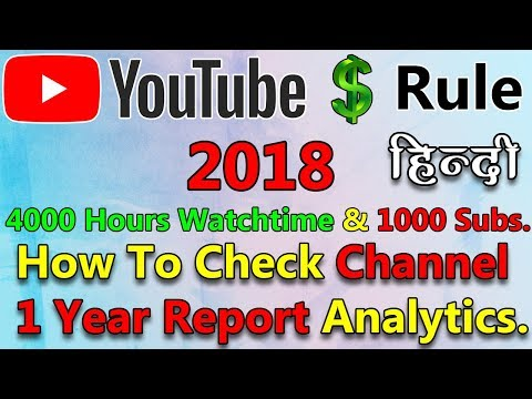 YouTube Monetization Policy 2018 | How To Check 4000 Hours Watchtime and 1000 Subscribers Report.
