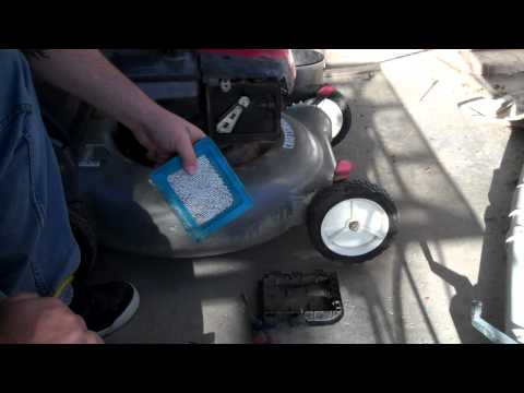 How to clean the air filter for a lawn mower or replace it.