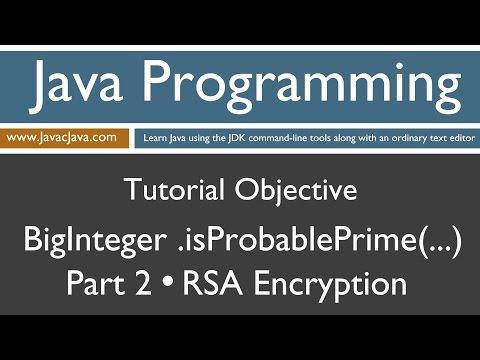 Learn Java Programming - BigInteger .isProbablePrime() Part 2 RSA Concepts Tutorial