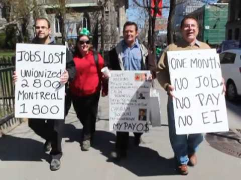 Air Canada ex employee's begging downtown Montreal