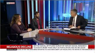 53% of people in the UK have no religion (Andrew Copson on Sky News)