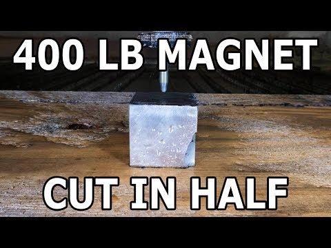 Huge Neodymium Magnet Cut in Half with a 60,000 PSI Waterjet - 400 Lbs
