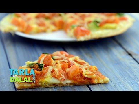 Cheesy Vegetable Pizza, Veg Cheese Pizza by Tarla Dalal