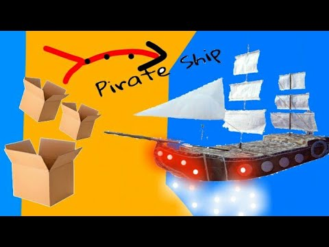 How to build pirate ship from cardboard   ||yellow bell craft ||