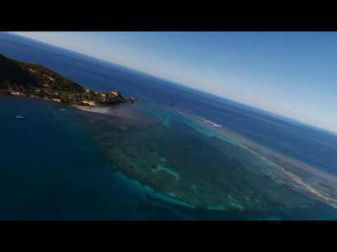 Drone flight over Leverick Bay to the northern reef, Virgin Gorda, BVI