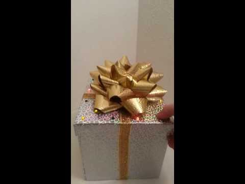 Light up gift box with battery powered LEDs.