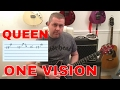 Queen One Vision Guitar Solo Tutorial With Guitar Tab