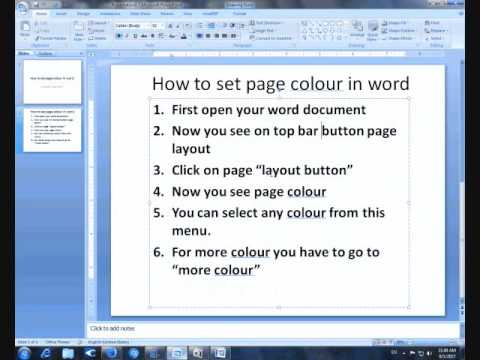 how to set background colour in microsoft word 2007