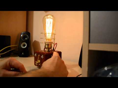 Steampunk lamp , with  DIMMER and Edison lamp
