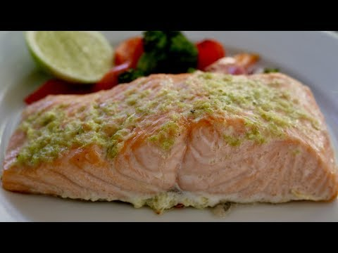 One Pan Baked Salmon Lime Garlic Butter with Vegetables