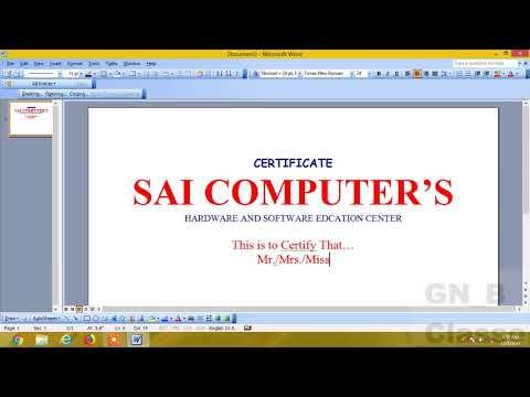 How To Create Certificate in Microsoft Word(MS-WORD)- Hindi