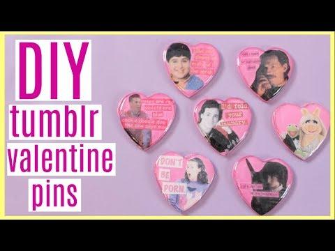 DIY Tumblr Valentine Pins- Stranger Things, Drake and Josh, Miranda Sings + More!