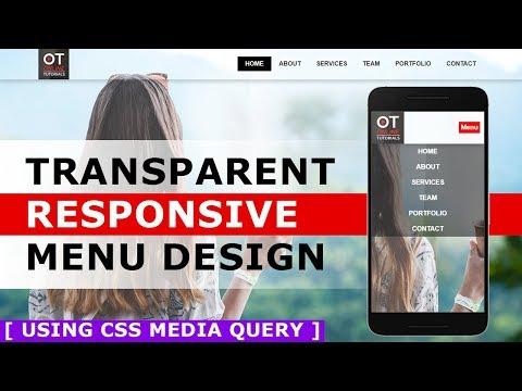 Responsive Menu bar Design With Html and CSS - Transparent Menu with CSS Media Query - Tutorial
