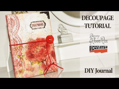 How to decoupage on cardboard - DIY journal - decoupage tutorial - diy notebook