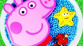Learn Characters Peppa Pig, The Incredibles, Holly and Ben, Pj Masks in Pool For Kids Toys Fun