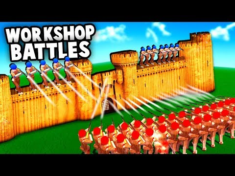 Epic Fortress Sieges!  NEW Update - Steam Mods (Wooden Battles Gameplay)