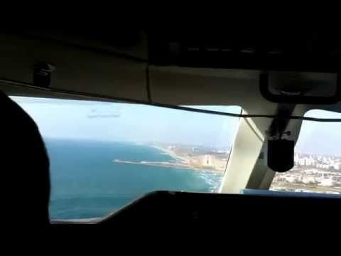 Landing at Sdeh-Dov Tel-Aviv from cockpit