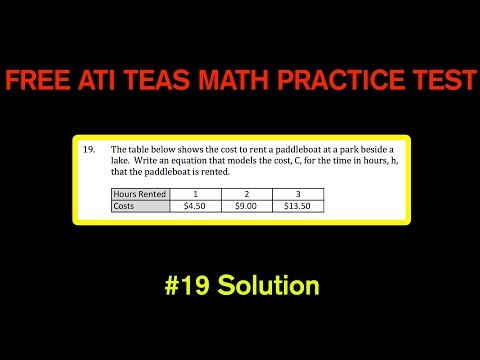 ATI TEAS MATH Number 19 Solution - FREE Math Practice Test - Writing and Equation From a Chart