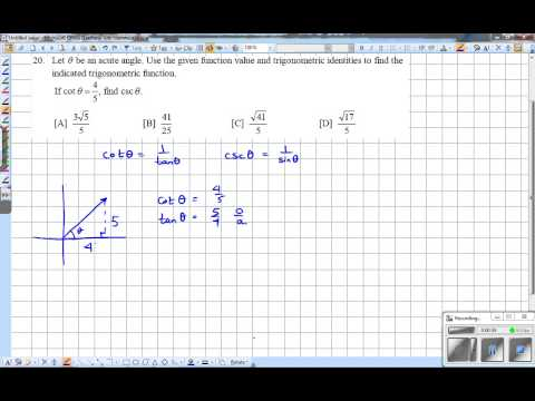 Problem 20 Given cot find csc