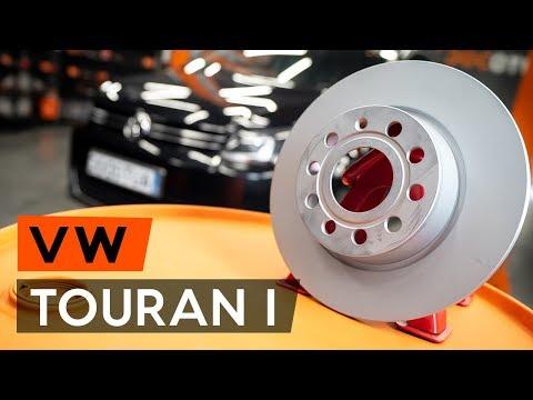 How to replace rear brake discs / rear brake rotors onVW TOURAN 1 (1T3)[TUTORIAL AUTODOC]