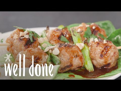 How To Make Grilled Pork Meatball Kebabs | Recipe | Well Done