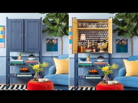 DIY: A Stylish Home Bar Made With An IKEA IVAR Cabinet