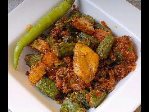 Benda Batata Masala - okra and potato fry - By Vahchef @ Vahrehvah.com