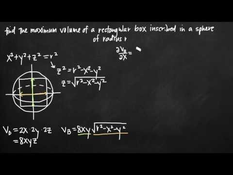 Max volume of a rectangular box inscribed in a sphere (KristaKingMath)