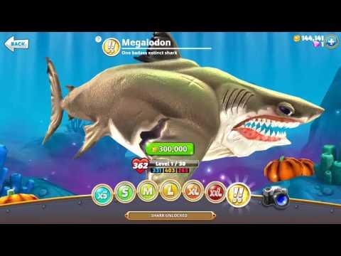 MEGALODON UNLOCKED !! SHARKS 300,000 Coins - Hungry Shark World