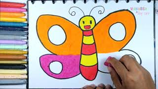 Cara Gambar Dan Mewarnai Kupu Kupu Super Coloring Pages For Kids