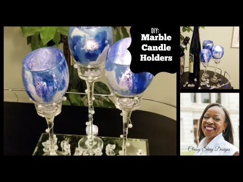 DIY: Marble Dollar Tree Candle Holders |Home Decor