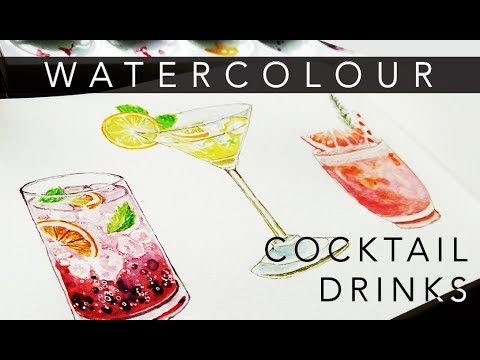 WATERCOLOR cocktail drinks // new year's resolution