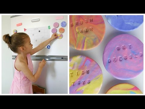 {Kids} DIY Mabled Polymer Clay Chore Magnets