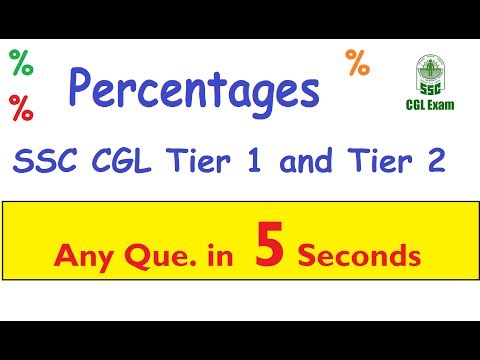 SSC CGL 2017 ; Maths SHORTCUTS and TRICKS ;- PERCENTAGES