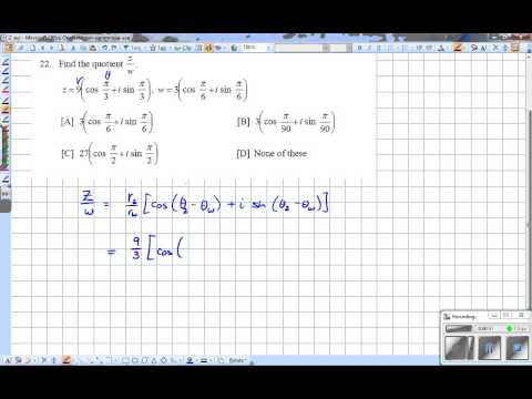 Quotient of Complex Numbers in Trig. (Polar) form