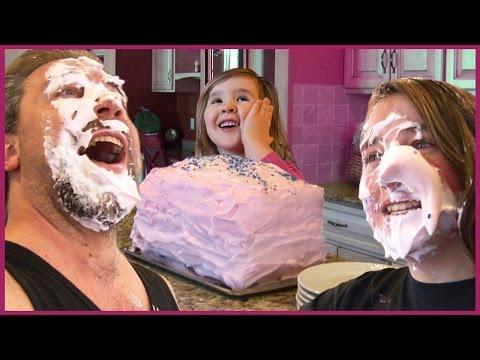 Girls Do Balloon Cake Prank on Dad - Kids Shaving Cream in Face Fun