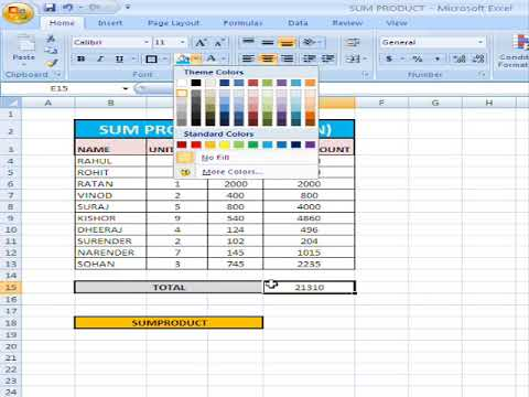 EXCEL - USE OF SUM PRODUCT FUNCTION