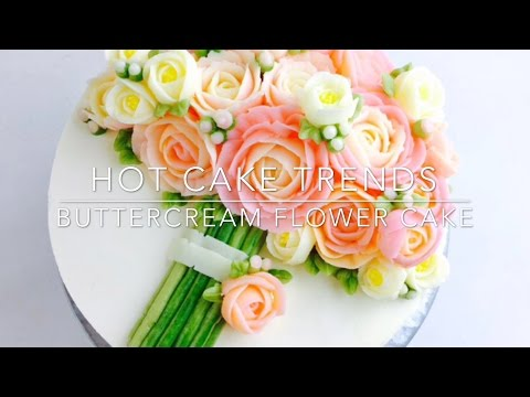 Pink Roses Buttercream bouquet cake - how to make by Olga Zaytseva / CAKE TRENDS 2017 #1