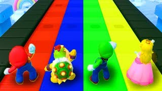 Super Mario Party - Minigames - Mario Vs Bowser Jr Vs Peach Vs Luigi