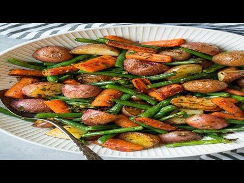 Garlic herb roasted potatoes carrots and green beans - KooKu Food
