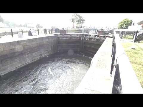 Water levels in dock gate system Glasson Dock Lancaster England UK
