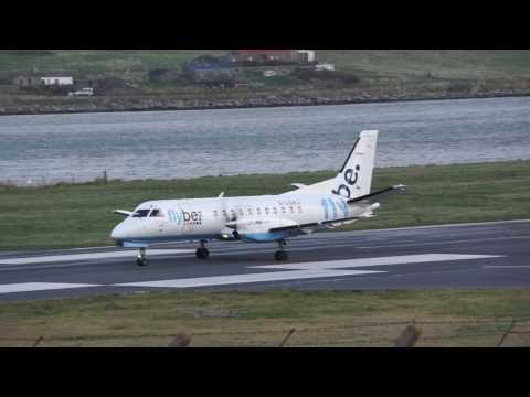 Extreme Headwind landing SAAB 340 of Flybe at Sumburgh Airport, Shetland