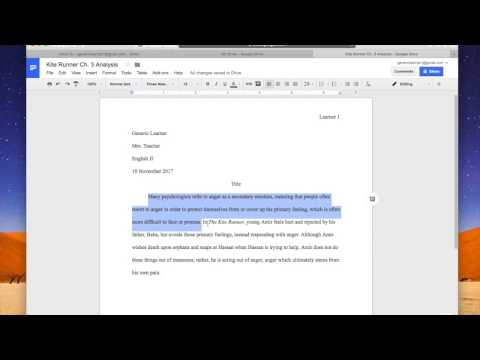 Setting up MLA format in Google Docs